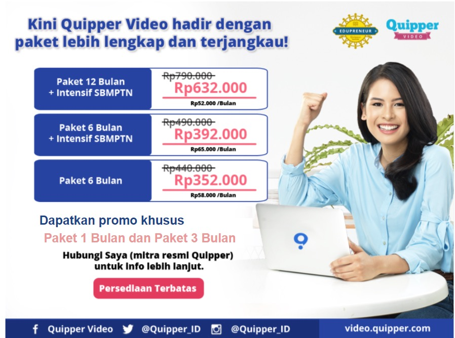 Harga paket berlangganan quipper video 2018 dan harga voucher untuk paket 1 dan 3 bulan tidak tertera di website quipper karena untuk berlangganan quipper video dengan paket 1 dan 3 bulan menggunakan voucher stopboris Choice Image