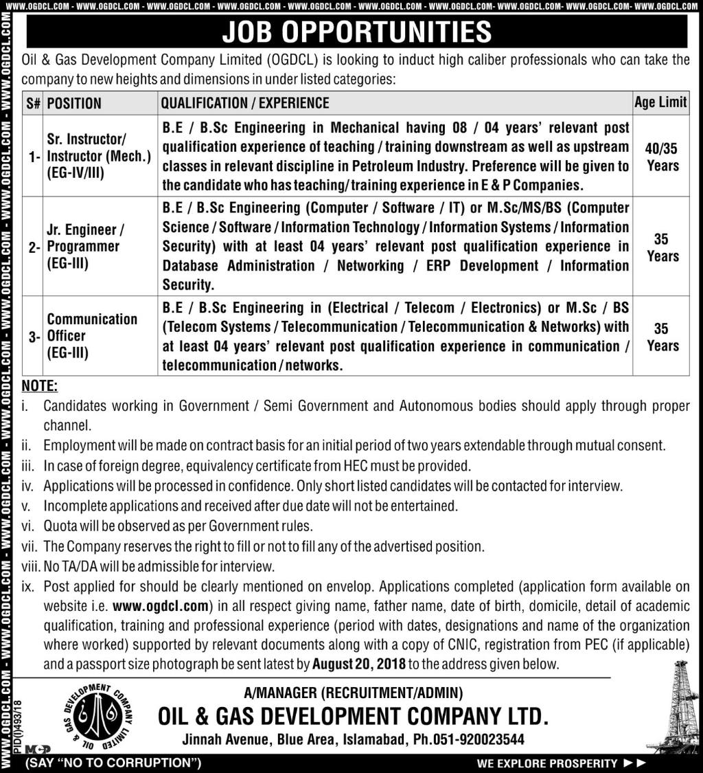 Oil And Gas Development Company Limited July 2018 Apply Online