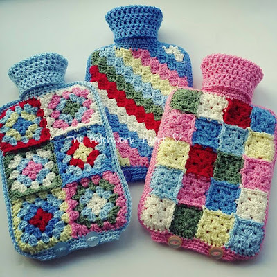 The Patchwork Heart Crochet Hot Water Bottle Covers