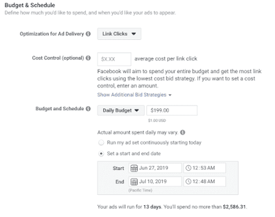 Facebook ad budget and schedule