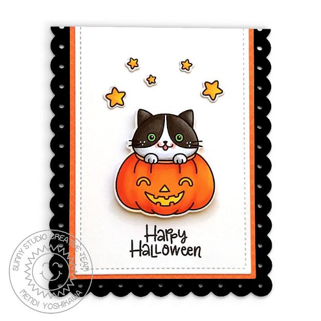 Sunny Studio Blog: Happy Halloween Cat in Pumpkin Scallop Handmade Card (using Scaredy Cat Stamps & Slimline Scalloped Frame Dies)