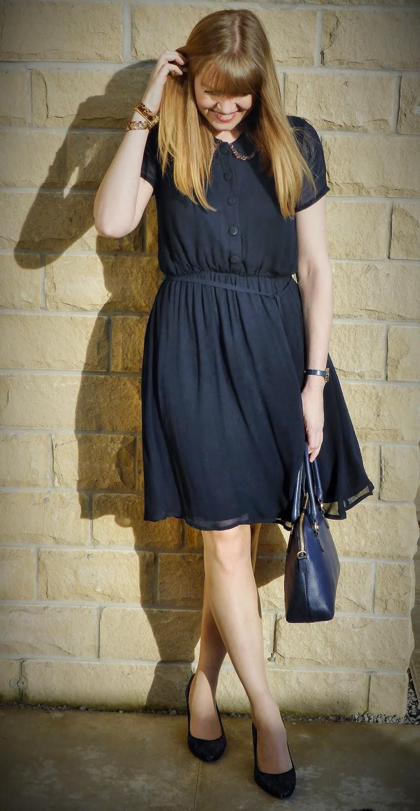 Navy Allium B dress with beaded collar, navy sequinned shoes, navy handbag