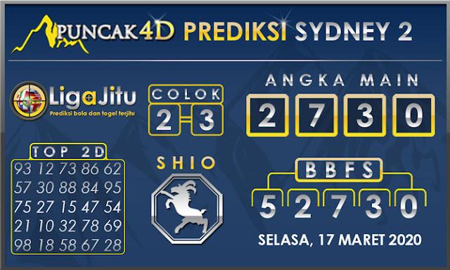 PREDIKSI TOGEL SYDNEY2 PUNCAK4D 17 MARET 2020