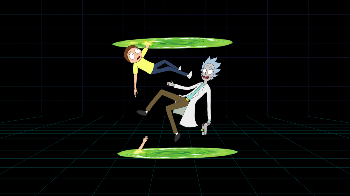 wallpaper for pc in 4k rick and morty portal gun teleporte