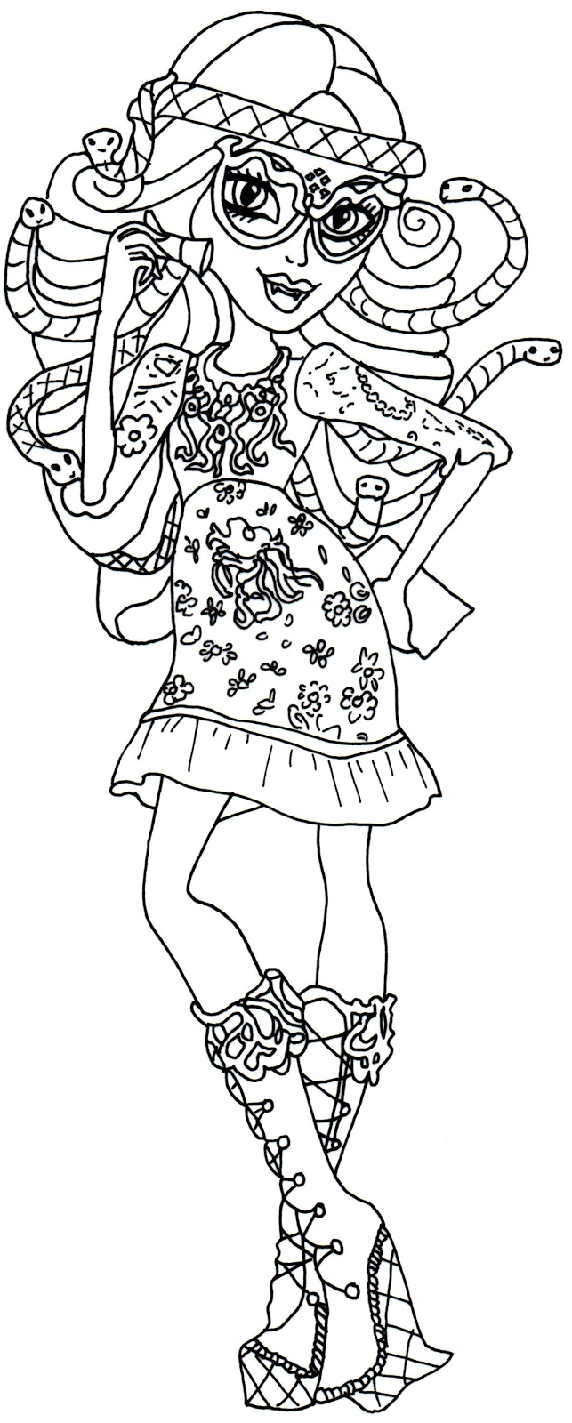 new monster high dolls 2014 coloring pages: Viperine