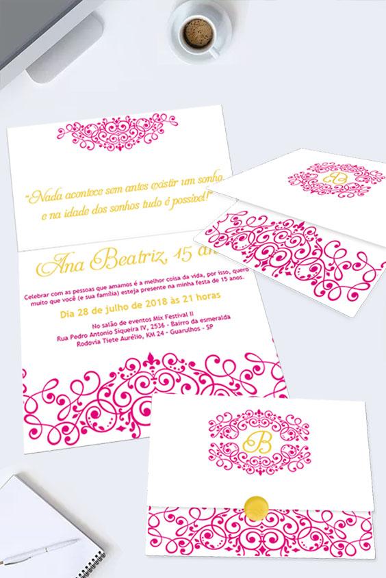 Convite de quinze anos para editar rosa e dourado
