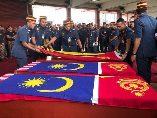 Nghi thức cầu nguyện được tiến hành tại Trạm cứu hỏa Shah Alam