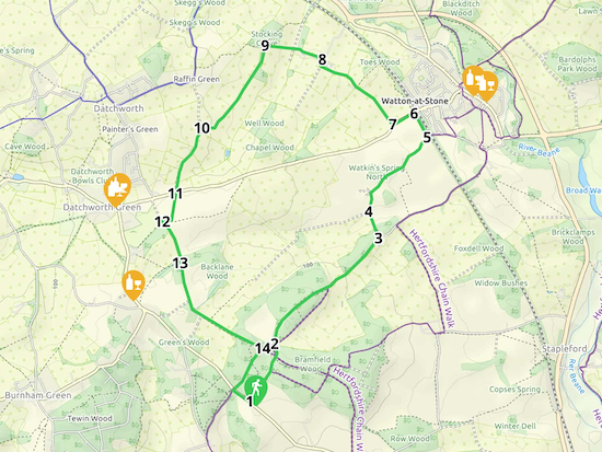Walk 43: Datchworth Loop Created on Map Hub by Hertfordshire Walker Elements © Thunderforest © OpenStreetMap contributors There is an interactive map embedded at the end of these directions