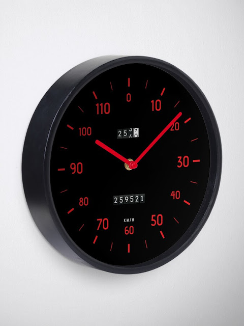 Retro car speedometer wall clock with red dials