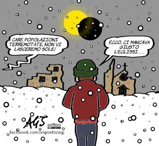 sole, eclissi, promesse, governo aiuti ai terremotati, terremoto, ricostruzione, neve, maltempo, vignetta, satira