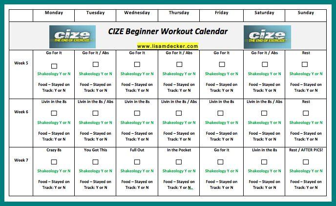 Cize Beginner Workout Calendar Part 2