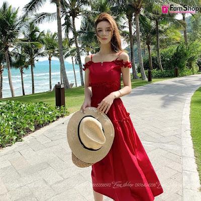 Váy maxi đi biển V490