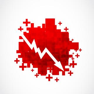 white down arrow representing selling short stocks - technitrader