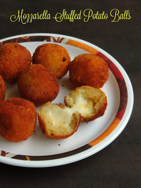 Mozzarella stuffed potato balls, cheese potato balls