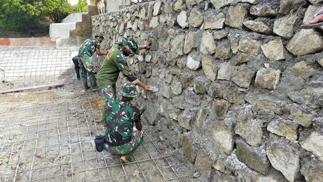 Penyelesaian Sasaran Fisik Pembangunan Bendungan Air Dilakukan Satgas TMMD Ke-112 Kodim 0207/Simalungun