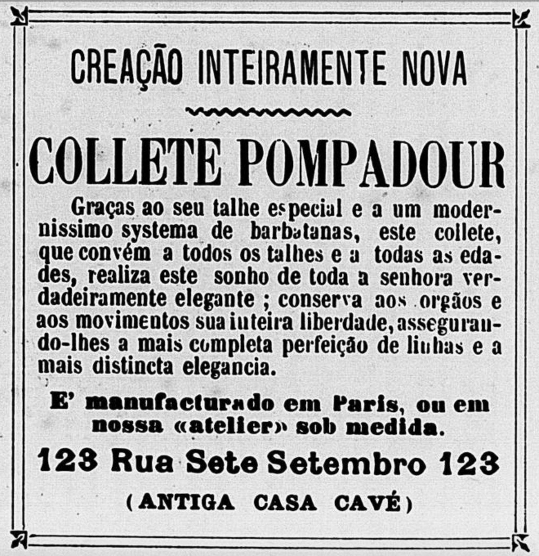 Anúncio de colete para definição das formas do corpo das mulheres em 1908