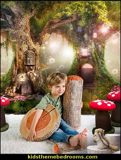 Fairytale forest Wall Mural  Mushroom Footstool Chair   Tree Trunk and Log Cushions