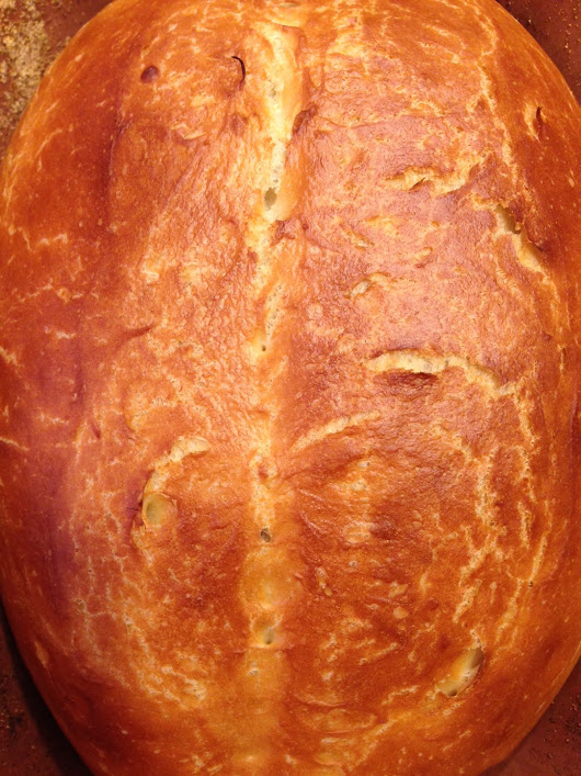 Romertopf Bread: The easiest loaf of bread you'll ever make.
