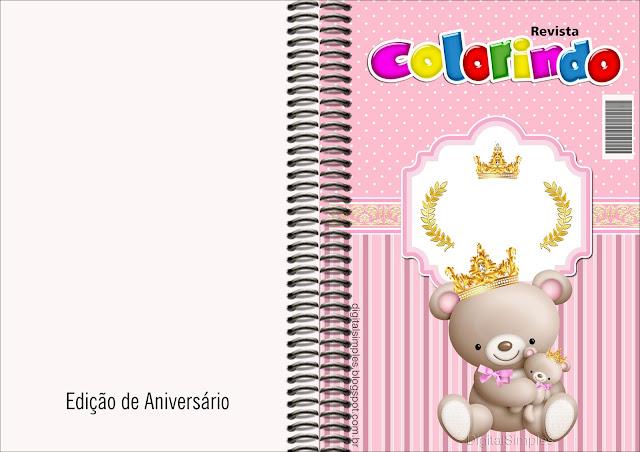 Imprimible carátula de libro para colorear de Princesa Osita de Peluche.