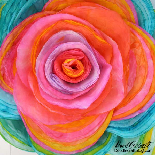 115 layers of vivid hand dyed coffee filters formed into a giant stunning rose.