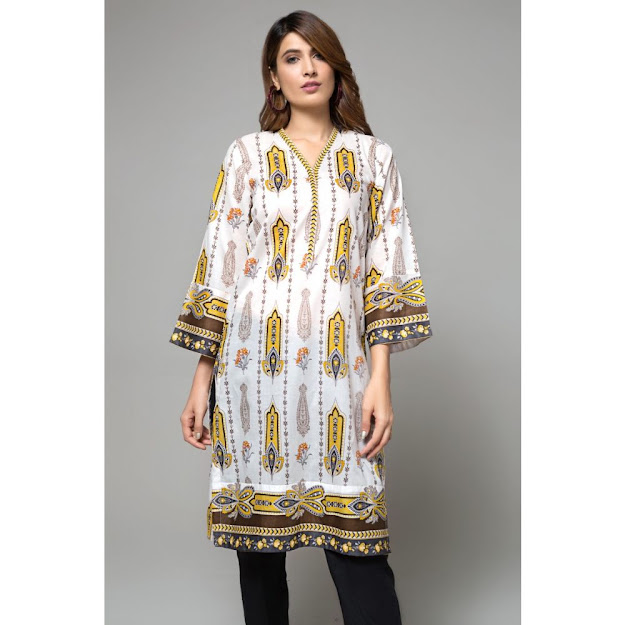 Gul Ahmed ready to wear kurti white & yellow color printed collection