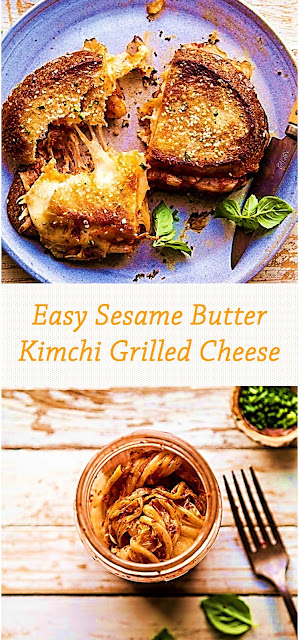 Easy Sesame Butter Kimchi Grilled Cheese