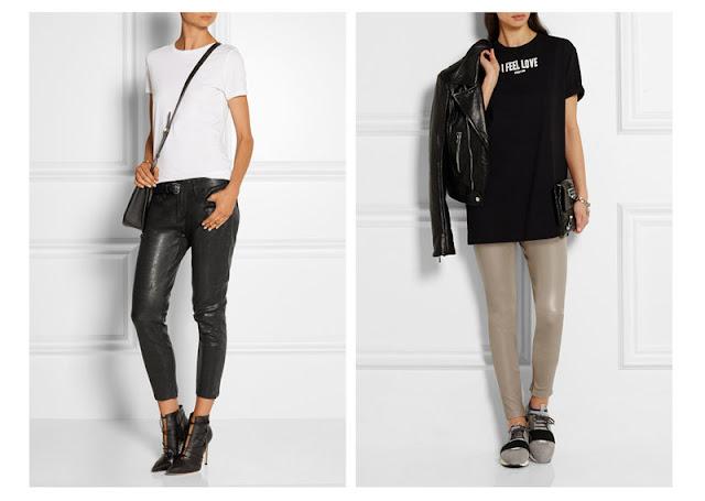 Кожаные брюки и леггинсы с футболкой