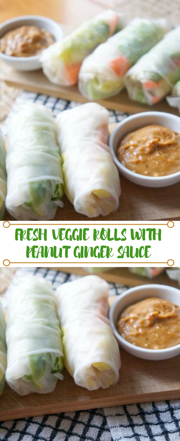 FRESH VEGGIE ROLLS WITH PEANUT GINGER SAUCE #vegetarian #vegan #soup #easy #breakfast