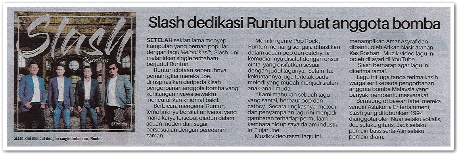 Slash dedikasi Runtun buat anggota bomba - Keratan akhbar Sinar Harian 17 Julai 2019