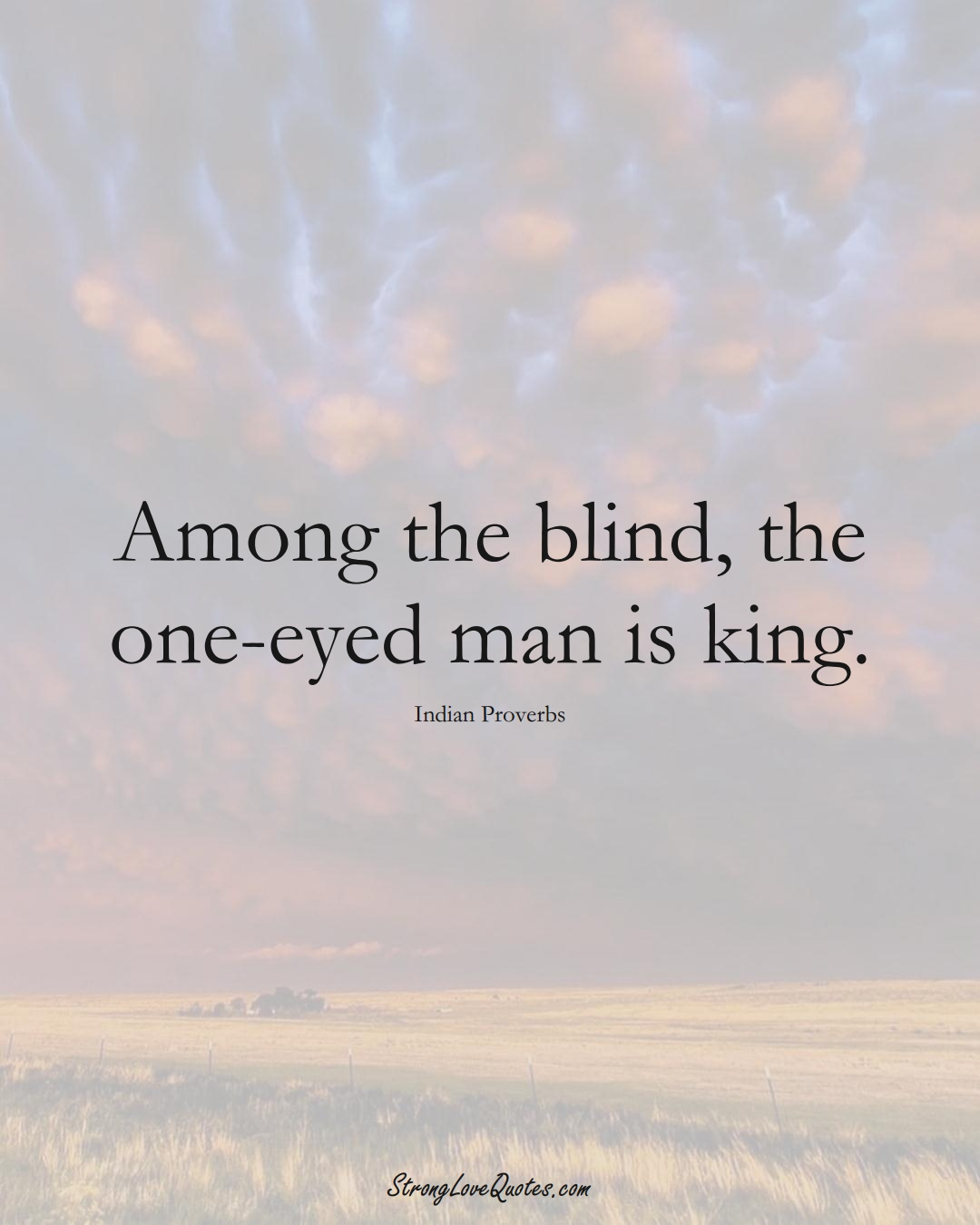 Among the blind, the one-eyed man is king. (Indian Sayings);  #AsianSayings