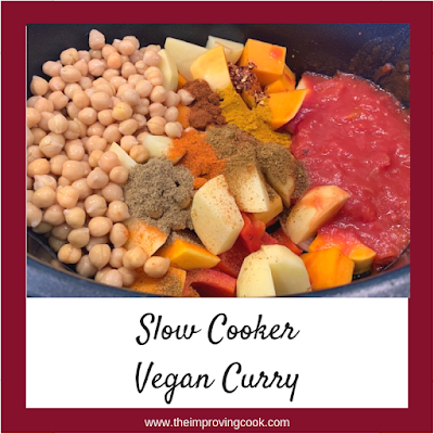 Slow Cooker Vegan Curry ingredients with text overlay