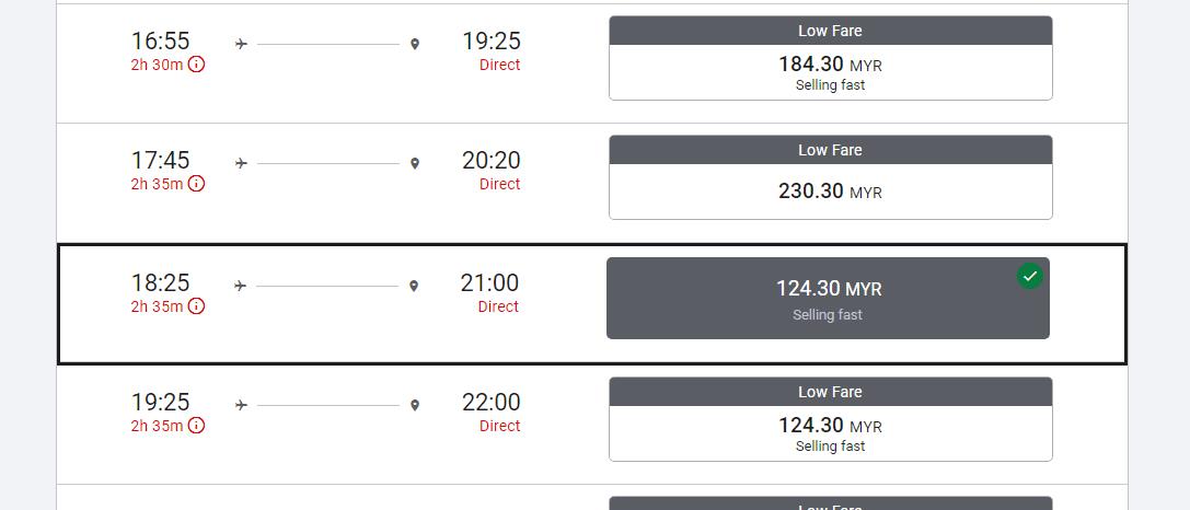 harga tiket penerbangan dari Sabah ke Kuala Lumpur murah.