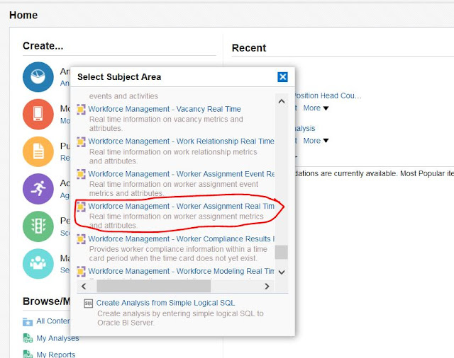 Select Subject Area -Workforce Management -Worker Relationship Real Time