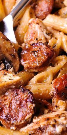CREAMY CAJUN CHICKEN PASTA WITH SMOKED SAUSAGE #creamy #cajun #chicken #chickenrecipes #pasta #pastarecipes #smoked #sausage #pasta #pastarecipes