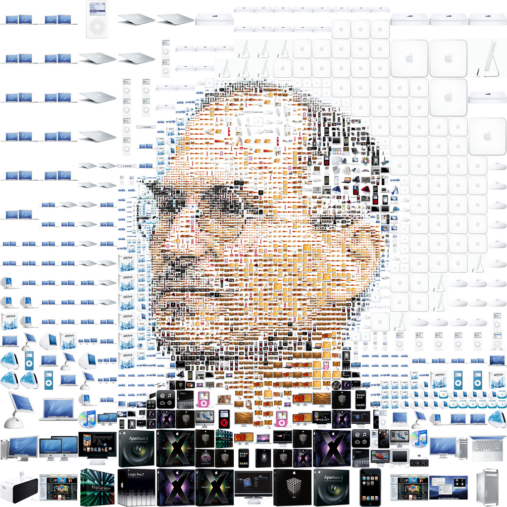 Portrait of Steve Jobs created from various sorts of Apple products
