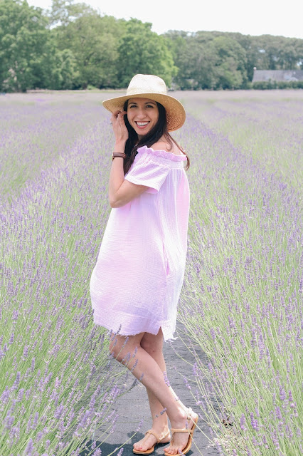 Prancing around lavender fields in a lovely off-shoulder tunic dress.