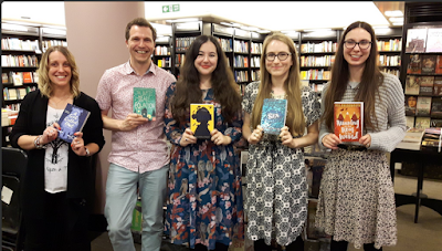 Jess Butterworth with fellow authors Amy Wilson, Christopher Edge, Kiran Millwood Hargrave, and Sarah Driver