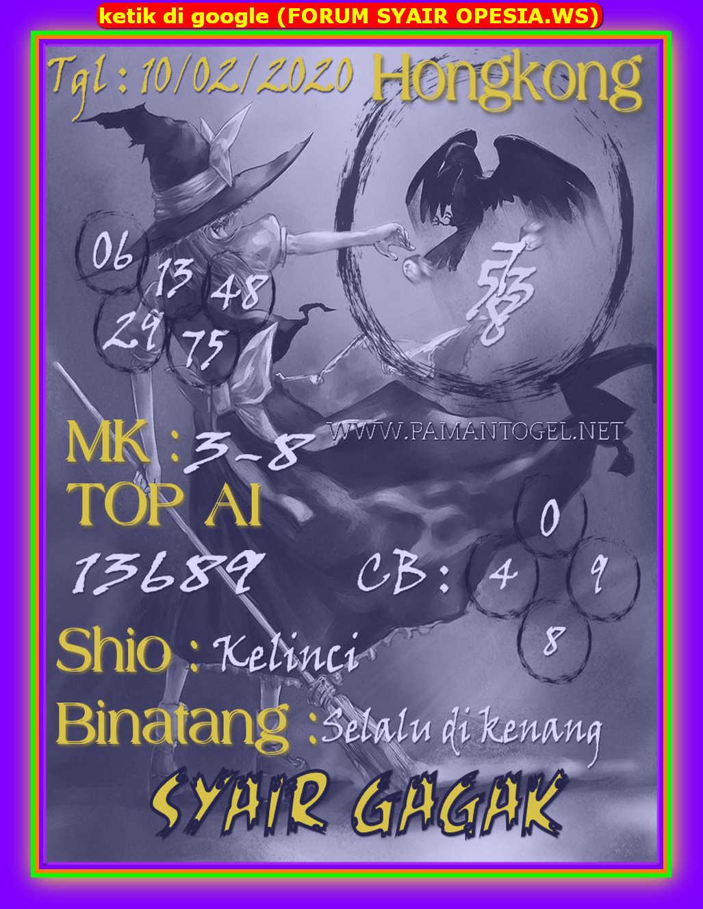 Kode syair Hongkong Senin 10 Februari 2020 177