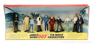 "Gilbert ""James Bond"" 10-piece Figure Set which includes Miss Moneypenny, Largo, James Bond, M, Odd Job, Goldfinger, Domino, Dr. No, James Bond, 007, Secret Agent, Ian Fleming"