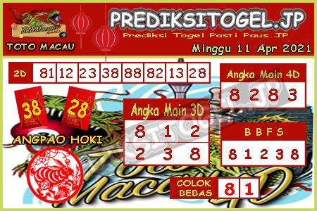 Prediksi Togel Toto Macau JP Minggu 11 April 2021