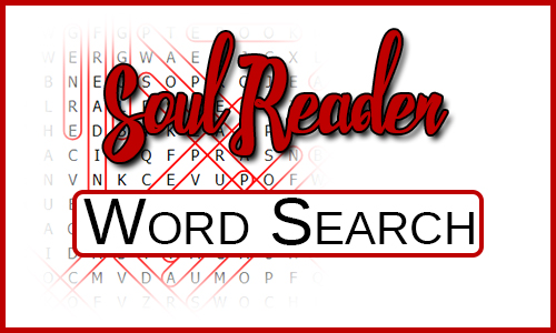 """Blurred Word Search with the Title """"Soul Reader Word Search"""" over the top"""