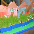 "RECYCLED CARTON NEIGHBORHOOD, ""GRASS"" HOUSES"