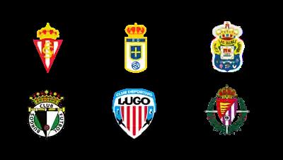 escudos de seis equipos de segunda división