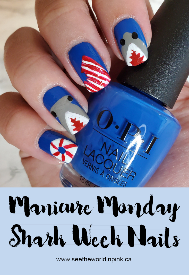 Manicure Monday - Shark Week Nails