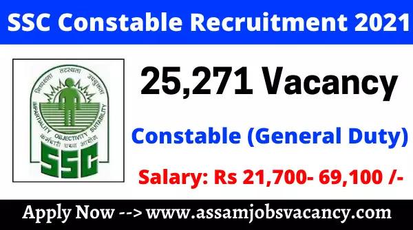 SSC Constable Recruitment 2021: 25271 Vacancies for Constable General Duty Post