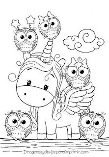 dibujo de bebe unicornio para colorear