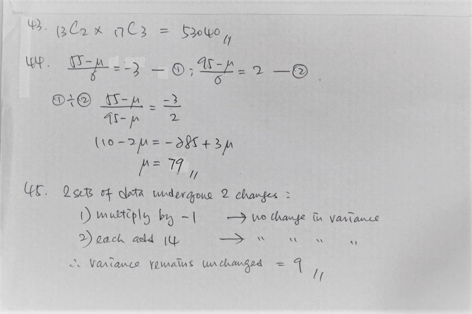2014 DSE Math 數學 卷二 P2 Q43,44,45