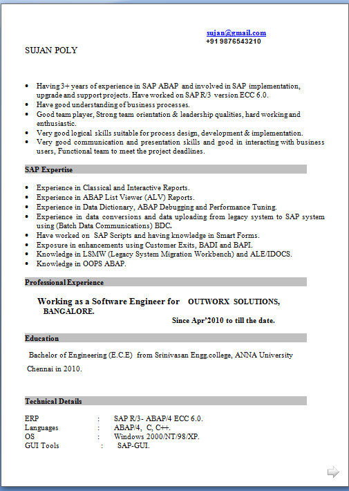 Template for cv word for Sample resume for sap abap 1 year of experience