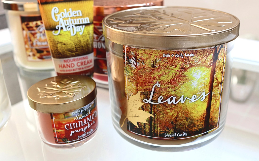 Bath And Body Works Autumn Haul Leaves 3-Wick Candle, Golden Autumn Day Hand Soap and Sweet Cinnamon Pumpkin Mini Candle