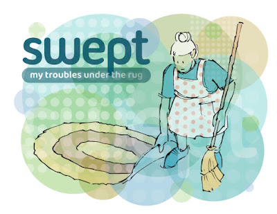 Lady sweeping dust under a rug